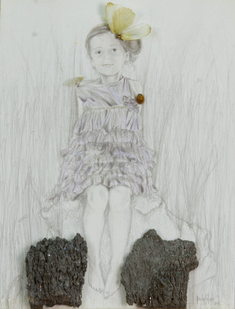 En el nombre de la rosa, del hijo y del espiritu de la mariposa, 2013. 41x36 mixta sobre papel sobre lamina