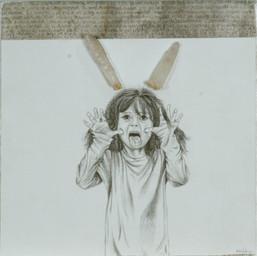 Lero lero no te tengo miedo 45x45 mixta sobre papel sobre lamina 2013
