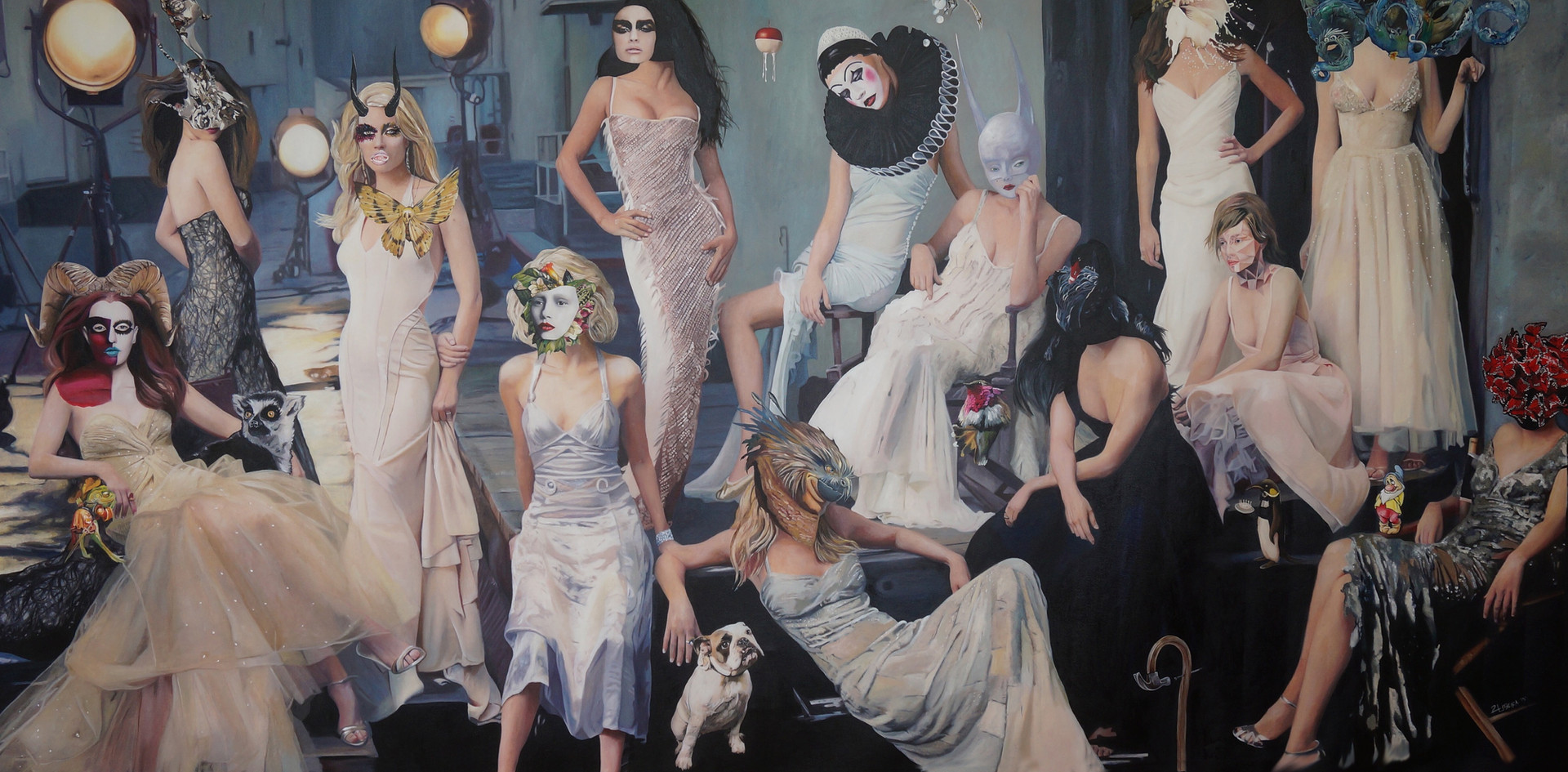 """""""Delusional Bliss"""" ,  145 x 280 , OIL ON CANVAS 2015"""