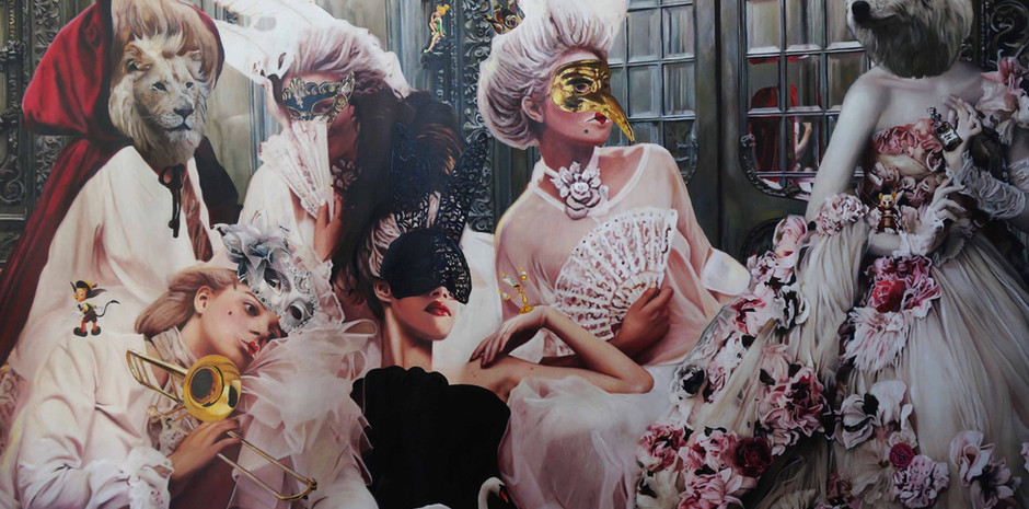 """The Wolf wears Dolce & Gabbana""  Oil on canvas 250 x 140 cms"