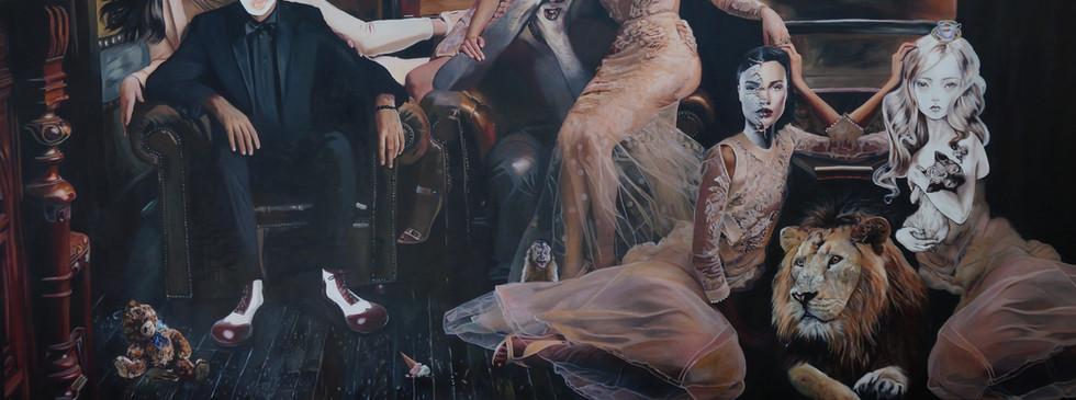 """""""Los cuentos que yo cuento"""",  270 x 150 cms, oil on canvas,  2016"""