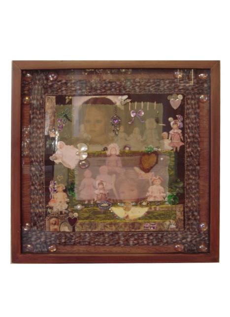 Muñecas collage assemblage 40x40