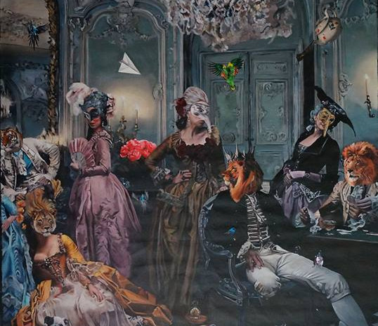 """""""Its always tea time in 14F"""" , 150 x 270 . Oil on canvass , 2014."""