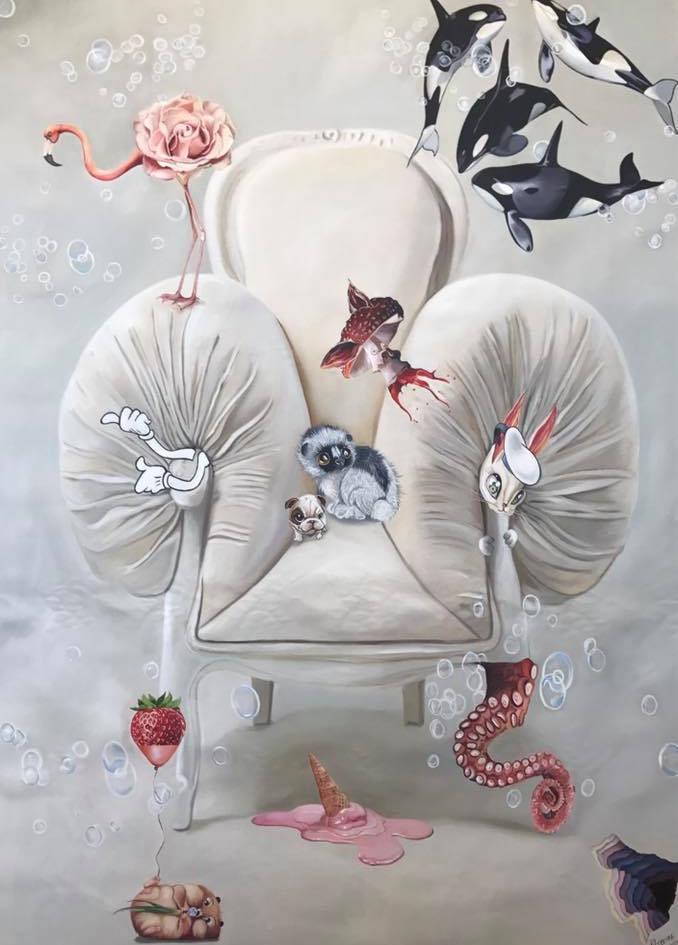 Sueños blancos, 1 x 140 , oil on canvas, 2017