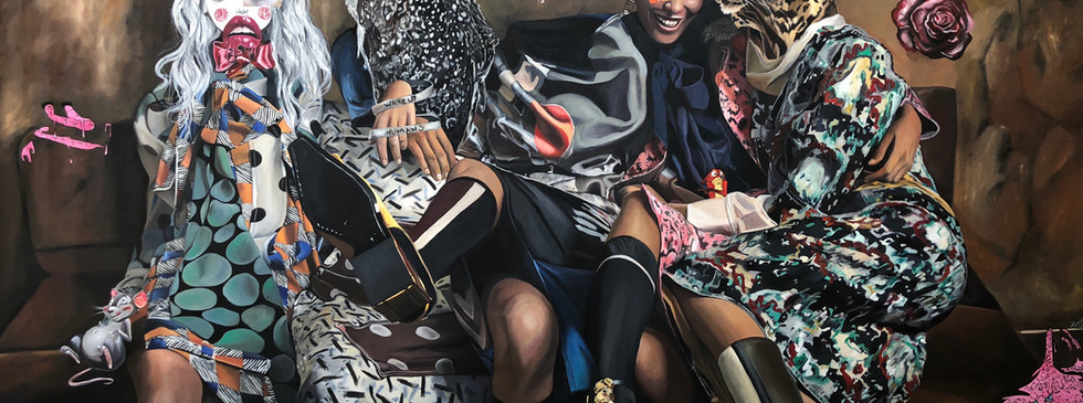 """""""Troubled delight"""" , 240 x 150 cms , oil on canvas ,2018"""