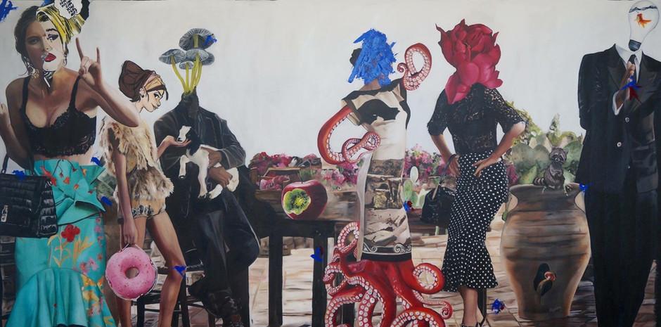 """""""El sueño de una noche de verano"""", oil on canvas, 275cm x 150 cm,2016."""