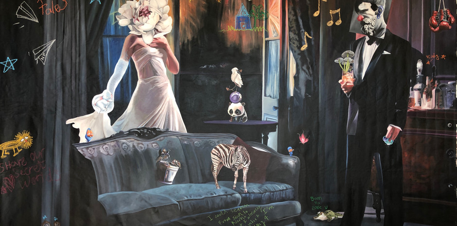 """"""" Childhood treasures"""",280x160,oil on canvas, 2018"""