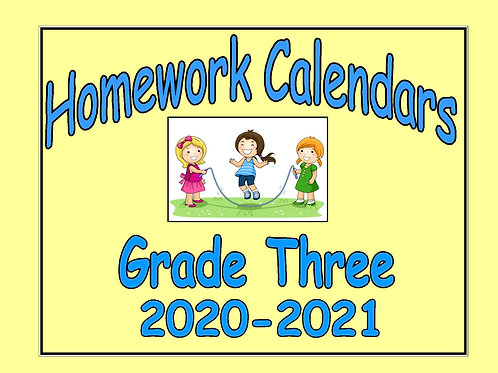 Homework Calendar Grade Three - 2020-2021