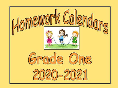 Homework Calendars Grade One - 2020-2021