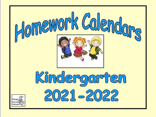 Kindergarten Homework Calendars 2021-2022
