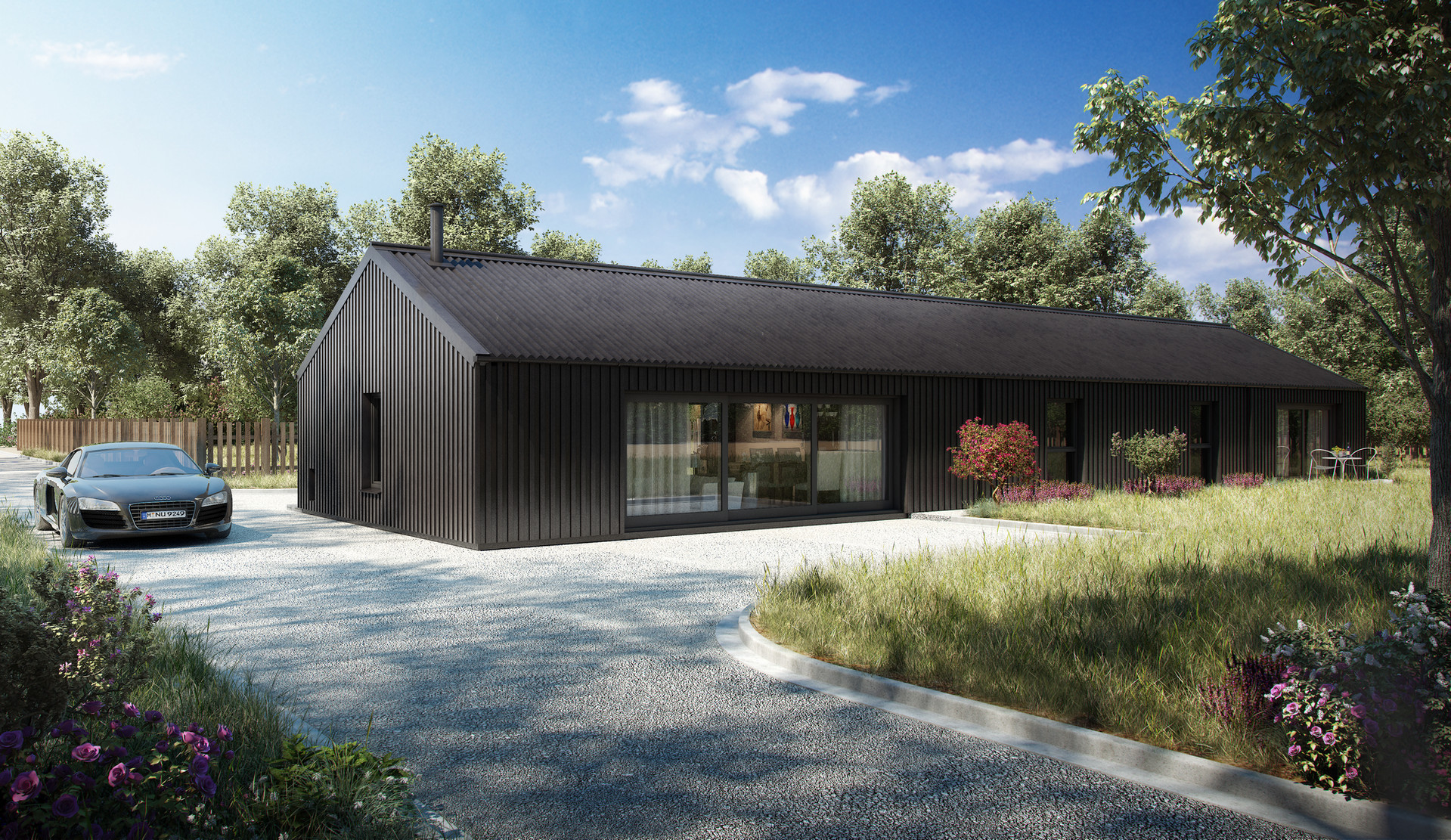 Externally the windows and doors are black stained timber and the walls are clad in black stained vertical timber cladding. The roof is black Big 6 profiled cement sheeting on a traditional timber roof structure. Overall the property is highly insulated and heated using an air source heat pump