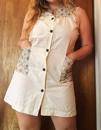 Vintage 60's Handmade Linen Shift Dress (L)