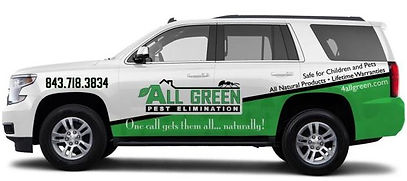 Our Chevy Tahoe Inspector vehicle in Charleston providing pest control, natural exterminator services.
