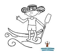piragua, barca, caoa, basa, , para colorear, dibujo, colombian folk
