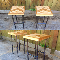 twin chevron end tables