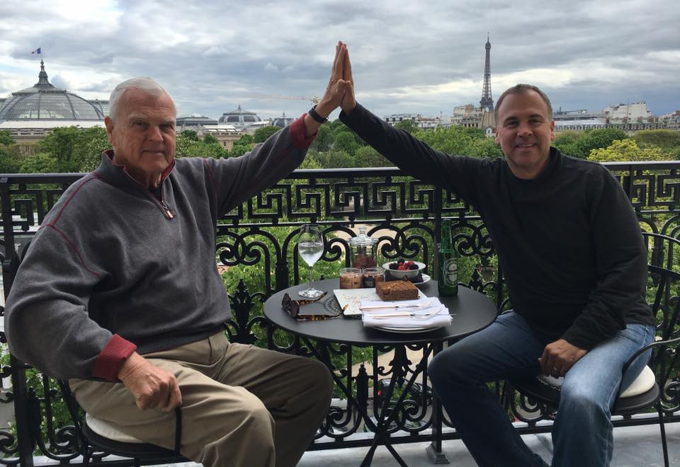 Chad Clark and his father, Charles Clark in Paris.