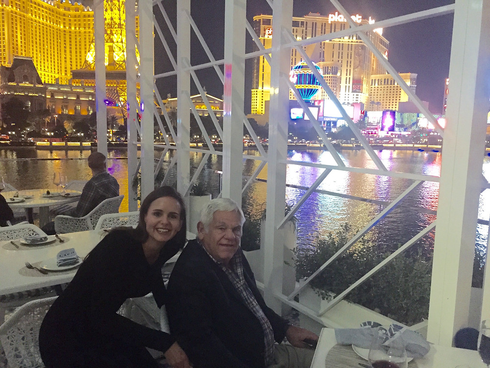 That's me and my dad, Bob Hanes enjoying a fountain view dinner at Lago at the Bellagio