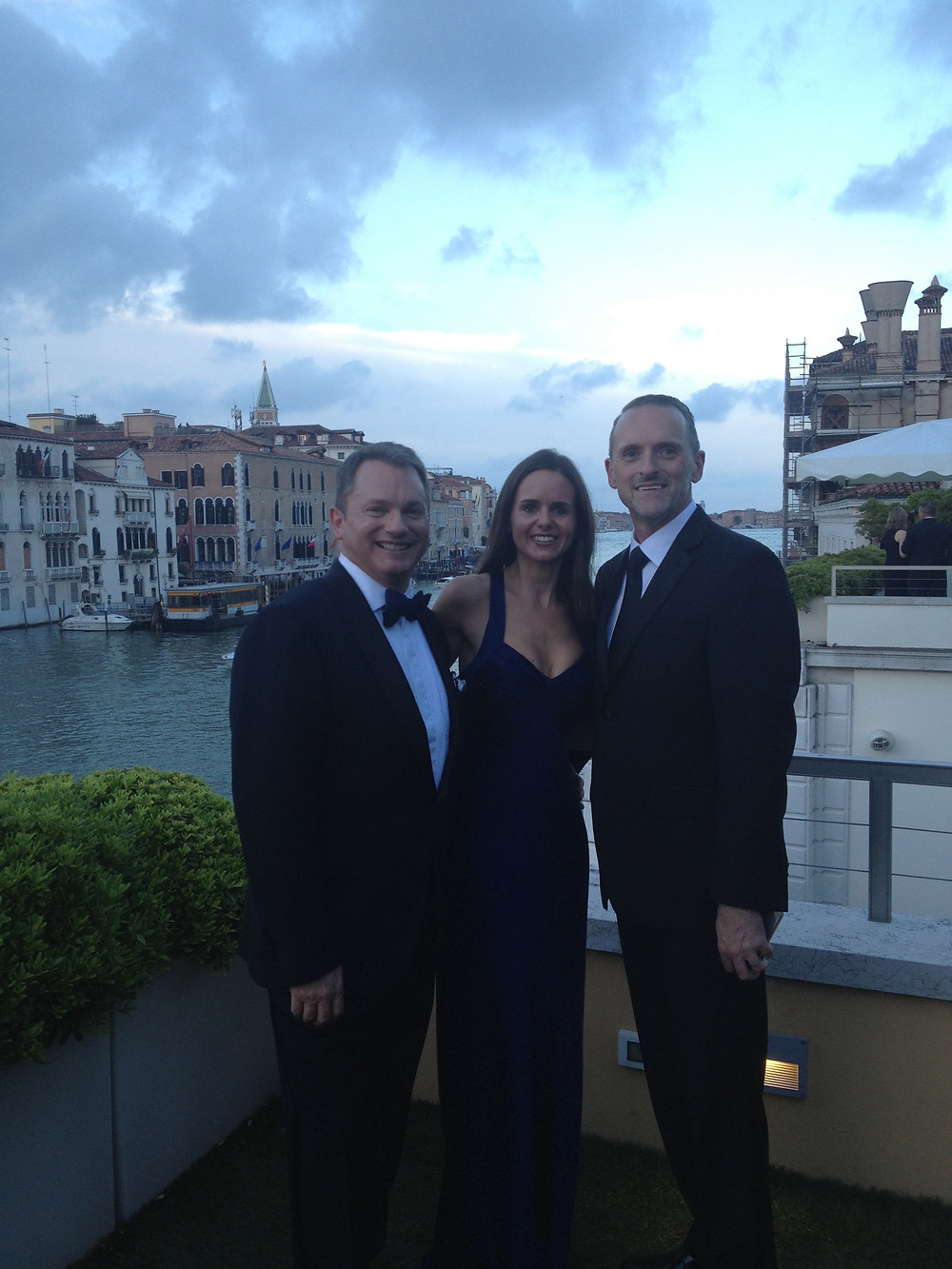 In Venice with Starwood execs Chris Austin (left) and John Mannion (right)