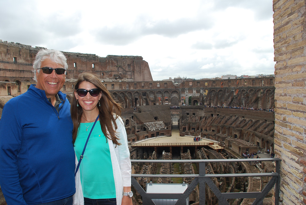Megan Genualdi and her father in Rome.