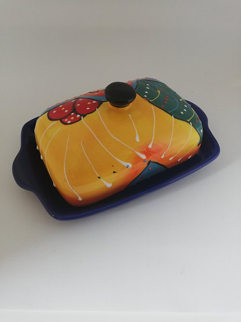 Butterdosen in verschieden Farben aus Keramik handbemalt