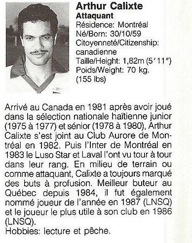1988 Montreal Supra Arthur Calixte