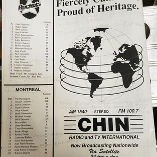 June 17 1990 North York Rockets v Montreal Supra Rosters (c/o Robin Glover)
