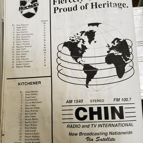 July 29 1990 North York Rockets v Kitchener Spirit Roster (c/o Robin Glover)