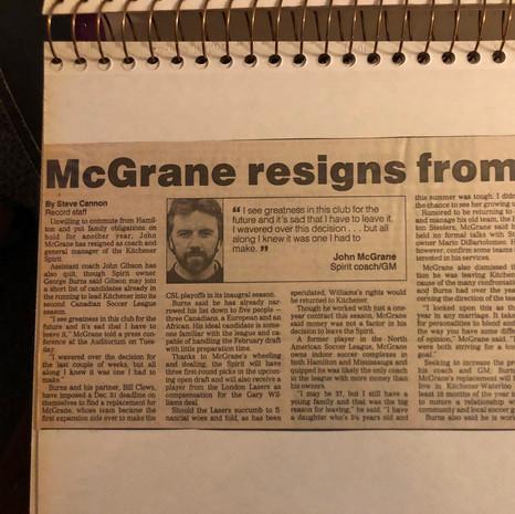 1990 John McGrane Resigns