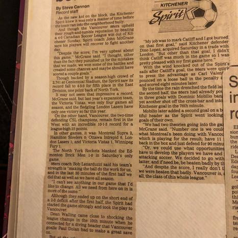 1990 Kitchener Spirit v Vancouver 86ers (c/o Peter Mackie)