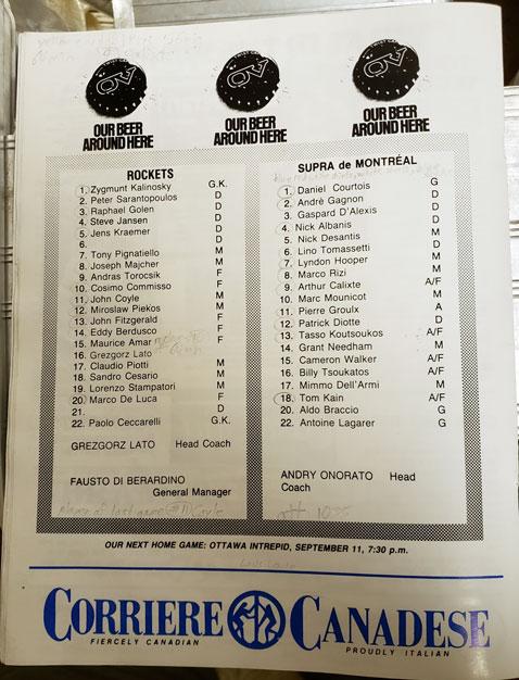 North York Rockets v Montreal Supra Sept 5 Roster (c/o Robin Glover)