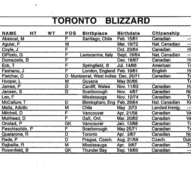 1991 Toronto Blizzard Roster