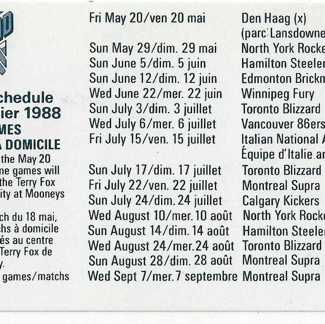 1988 Ottawa Intrepid Schedule