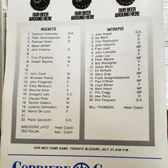 July 20 1988 North York Rockets v Ottawa Intrepid Rosters (c/o Robin Glover)