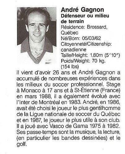 1988 Montreal Supra Head Andre Gagnon