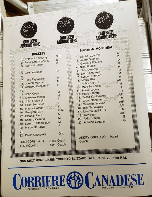 North York Rockets v Montreal Supra Rosters June 25 1988 (c/o Robin Glover)