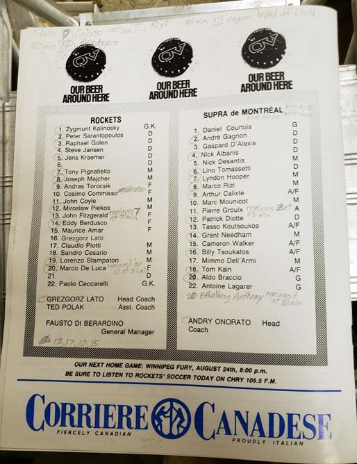 North York Rockets v Montreal Supra Rosters Aug 14 1988 (c/o Robin Glover)