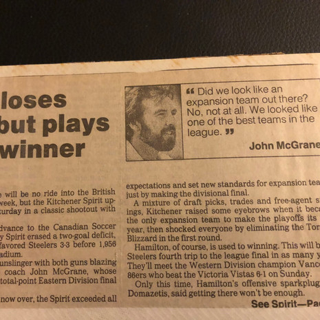 1990 Kitchener Spirit loss to Hamilton Steelers (c/o Peter Mackie)