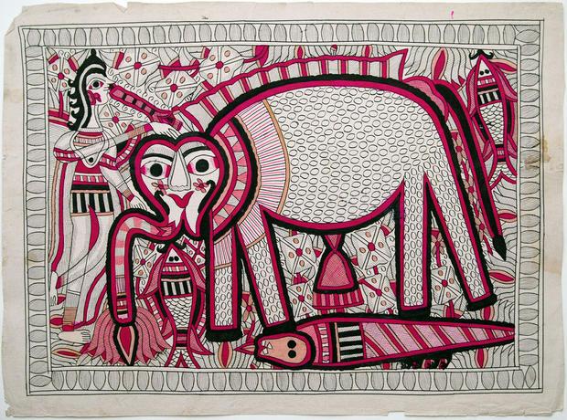 BACCHADAI DEVI CIRCA 1970-80 VEGETAL COLOURS 56X76 CM