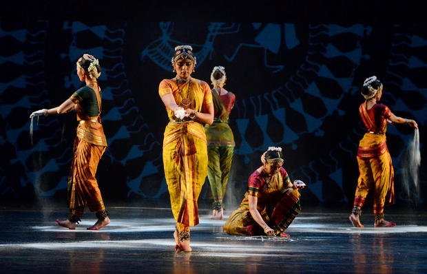 """RAGAMALA """"SACRED EARTH"""" BY THE CHOREOGRAPHER RANEE RAMASWAMY, DECOR WITH PAINTINGS BY ANIL CHAITYA VANGAD AT THE COWLES CENTER FOR DANCE AND THE PERFORMING ARTS USA 2011."""