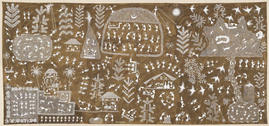 "BALU DUMADA ""THE GOD APPEARS IN THE FORM OF A CRANE BIRD"" 2010 ACRYLIC AND COWDUNG ON CANVAS 12X5.5 FEET – 365X167.5 CM"