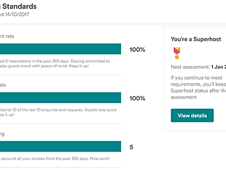 Superhost Status awarded (Airbnb) - yay!!!