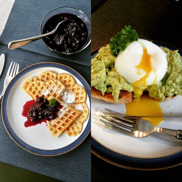 #breakfast options - #sweet - #buttermilk #waffles with #blueberry #mint #compote or #savoury - #roasted #chia #bread with #zingy smashed #a