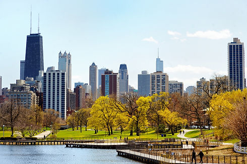 Chicago skyline with skyscrapers viewed