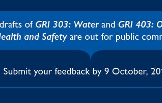 GRI Normas - Aberta consulta pública para revisão das Normas 303: Água e 403: Saúde e Segurança Ocup