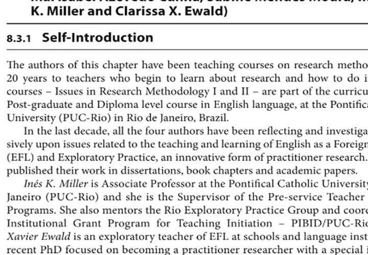 E publicação sobre o trabalho que eu fazia na Pós em Inglês da PUC