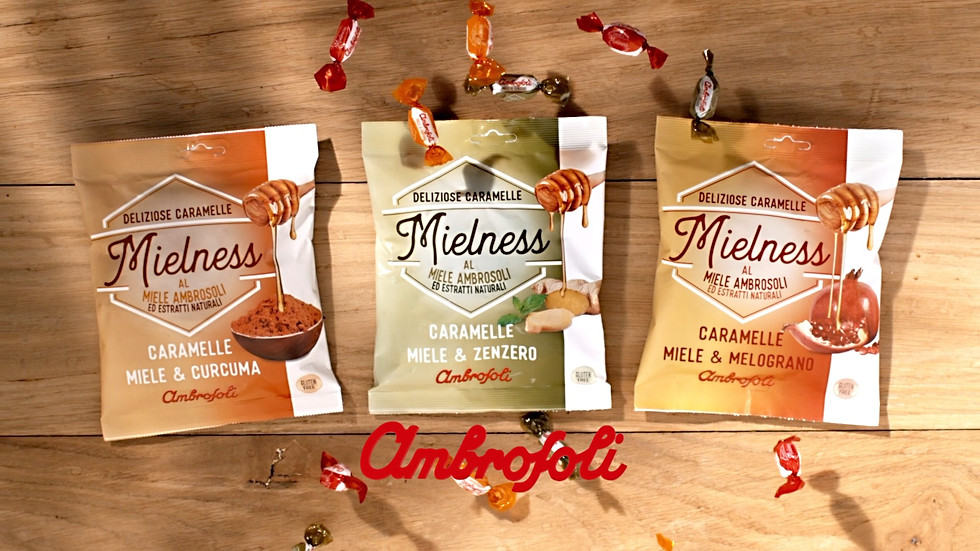 Mielness Ambrosoli graphics and packaging Busta