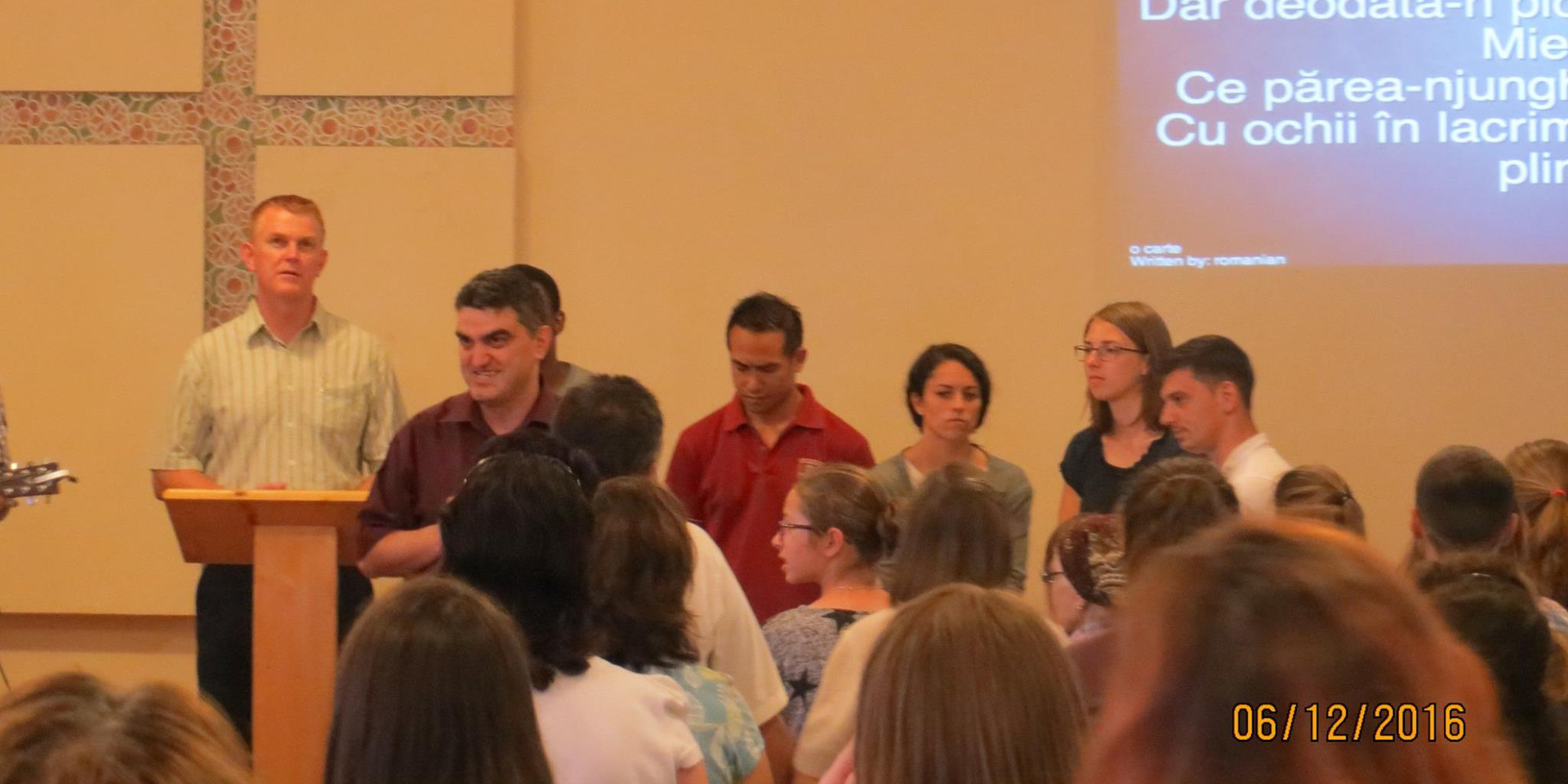 Prayers led by visiting missionaries