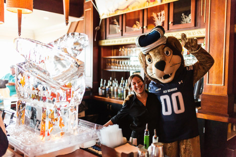 ODU Mascot with Ice Sculpture in The Attic