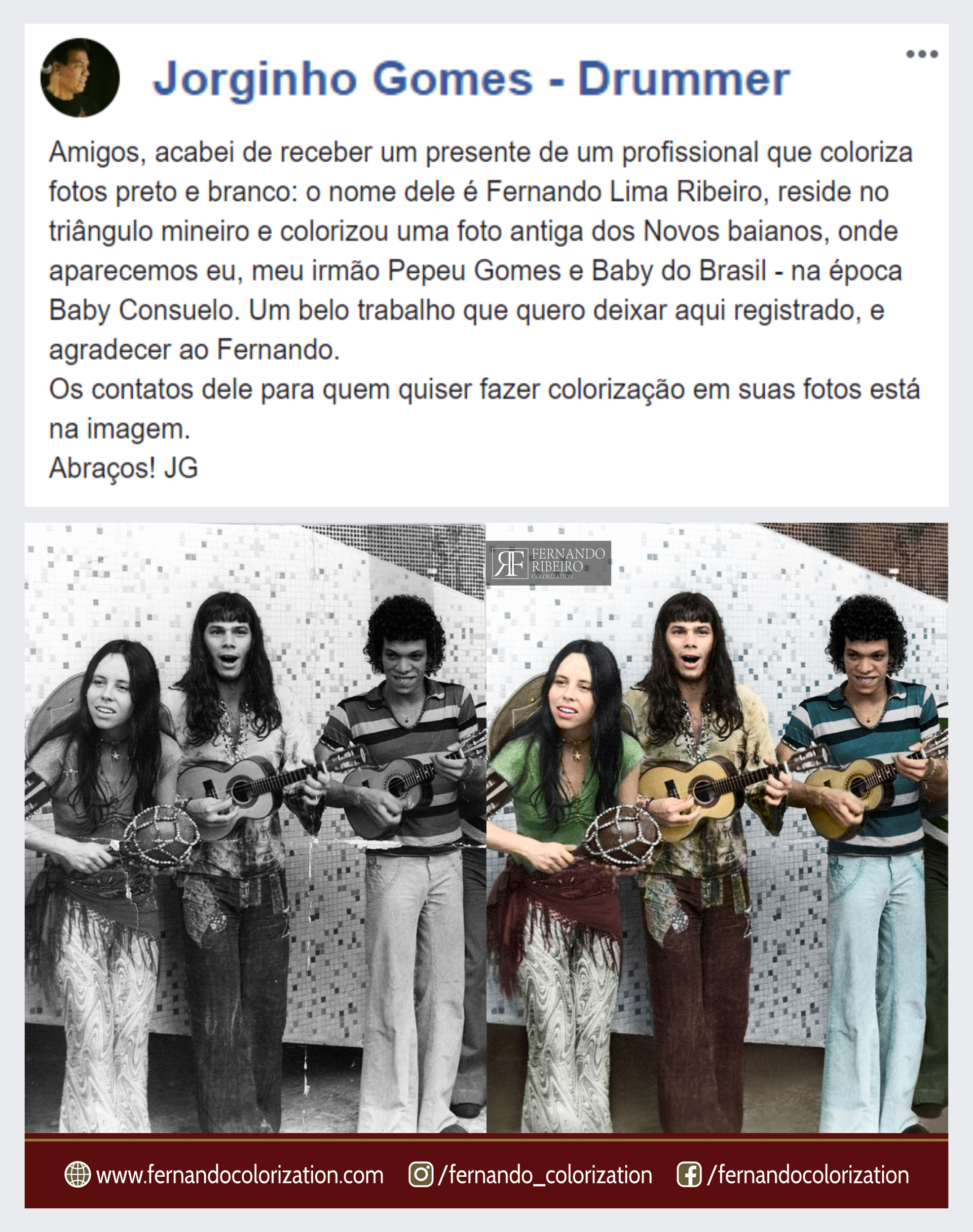 👏👏👏😁 Very cool!!! I am very happy with the compliment of the drummer Jorginho Gomes! I recently colored a photography of their musical group.