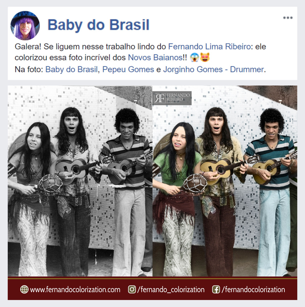 👏👏👏😁 Very cool!!! I am very happy with the compliment of the singer Baby do Brasil! I recently colored a photography of their musical group.